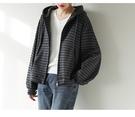 純棉開衫外套 條紋長袖衛衣 連帽拉鏈長袖外套-夢想家-0118