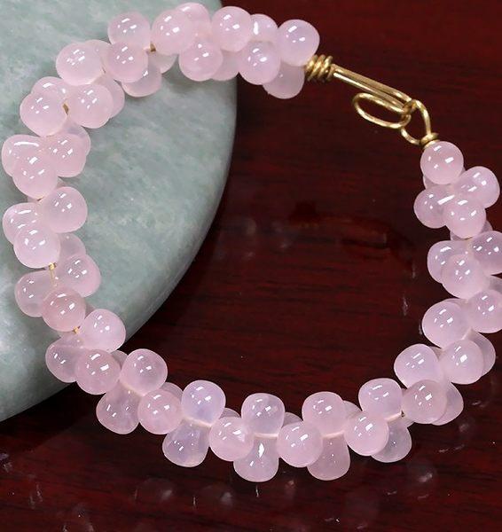[協貿國際]天然粉水晶花生圓珠手鍊單個價