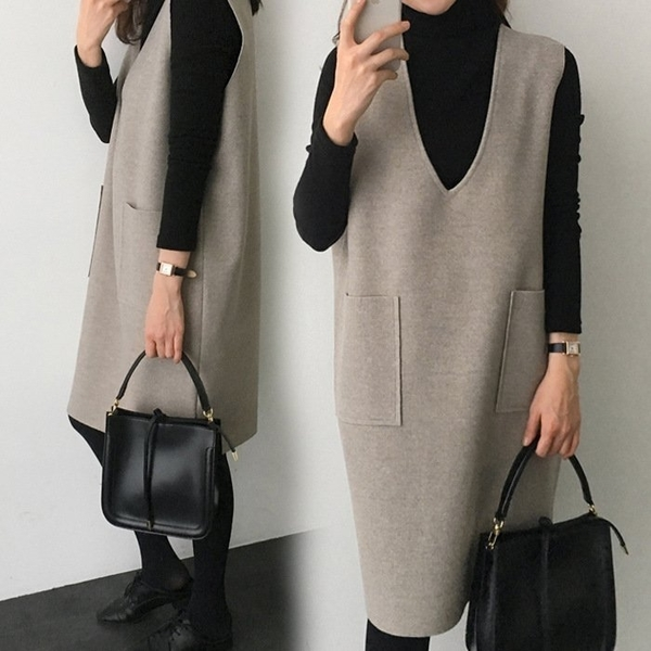 漂亮小媽咪 背心裙 【D2655】 韓系 V領 毛呢 口袋 背心裙洋裝 孕婦洋裝 孕婦裝 []