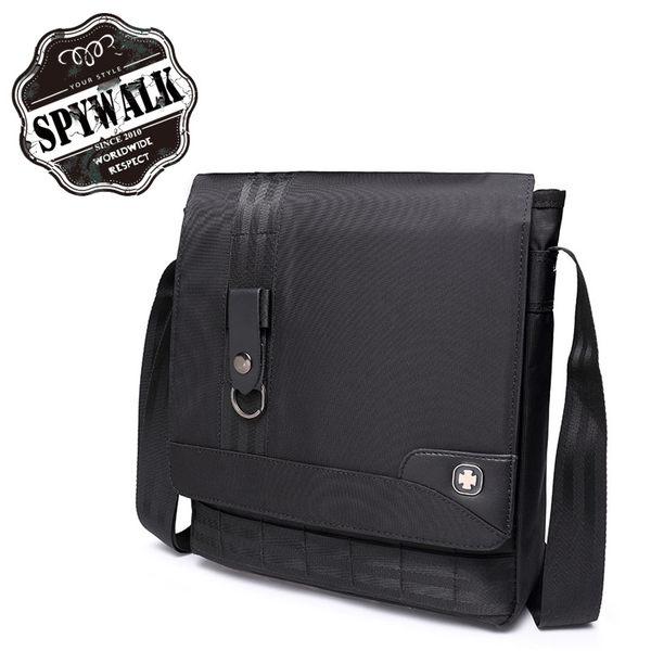 側背包 SPYWALK男士帶匙扣尼龍提花側肩包書包NO:1539