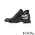 牛仔風素面短靴【K18-F666】黑(偏小)PAPORA