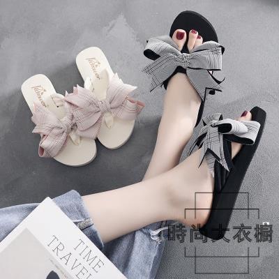 拖鞋女時尚蝴蝶結厚底坡跟涼拖鞋大碼沙灘夾腳拖鞋【時尚大衣櫥】