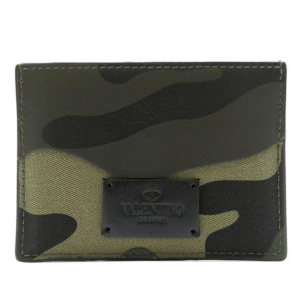 VALENTINO 范倫鐵諾 綠色迷彩帆布拚牛皮卡夾 Camouflage Card Holder【BRAND OFF】