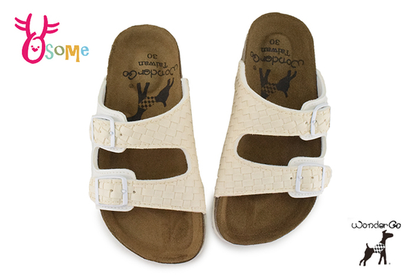 Wonder Go 拖鞋 中童 舒適牛皮 台灣製 休閒拖鞋 F5303#鵝白◆OSOME奧森鞋業