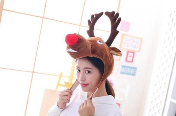 麋鹿頭套帽子LEO1 毛絨帽子變裝派對 角色扮演 聖誕節紅鼻子麋鹿帽子