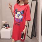 【GZ45】長版上衣 韓版寬鬆百搭卡通印花中長款短袖T恤 洋裝