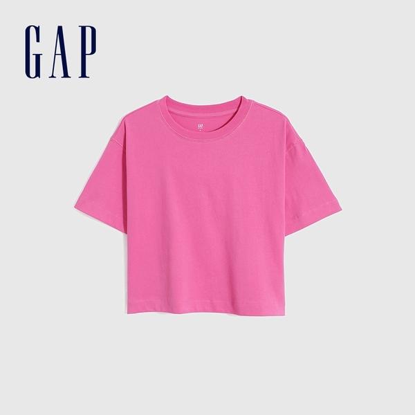 Gap女童 厚磅密織系列碳素軟磨 純棉短袖T恤 755464-紫紅色