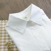秋裝新款純棉長袖白襯衫女內搭打底襯衣小尖領休閒修身職業裝上衣