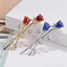 胸針 高檔氣質優雅玫瑰花朵胸針男女胸花鋯石水晶別針西裝外套禮服配飾-完美