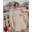 白色小禮服平時可穿短款洋裝裙一字肩晚禮服...