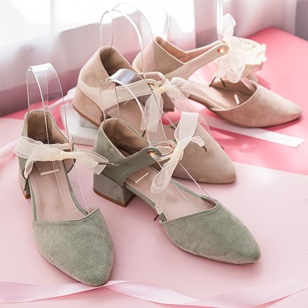 鞋子 麂皮繫踝綁帶尖頭低跟鞋-Ruby s 露比午茶
