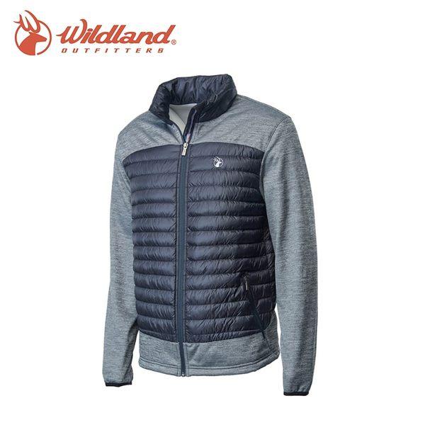 【Wildland 荒野 男彈性針織拼接羽絨外套《黑》】0A62992/戶外/登山/健行