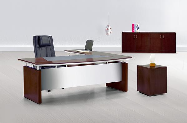 【 IS空間美學】8936豪華優質全木皮主管桌整組(L型/胡桃木色)