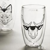 雙層玻璃杯啤酒冷飲水杯個性創意調酒玻璃杯套裝家用大容量杯 QG5840『優童屋』