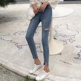 秋裝新款chic韓版高腰緊身彈力破洞牛仔褲小腳鉛筆褲女學生褲子潮