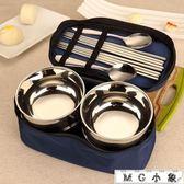 不銹鋼碗筷套裝雙層防燙家用飯碗