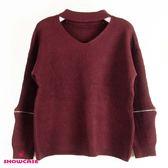 【SHOWCASE】氣質V領拉鍊開袖針織上衣(棗紅)