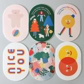 韓國創意可愛PVC橢圓滑鼠墊便攜個性防滑滑鼠墊防水餐墊 夏洛特
