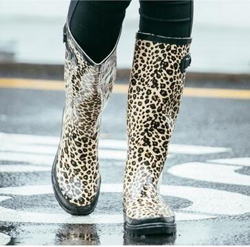 春夏時尚豹紋女高筒雨靴Eb12996『夢幻家居』