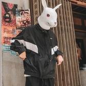 兔先森秋季日系復古青年寬鬆外套潮流連帽運動夾克男士街頭衝鋒衣