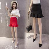 魚尾半身裙裝新品時尚包臀一步裙短款修身顯瘦荷葉邊女裙子「夢娜麗莎精品館」