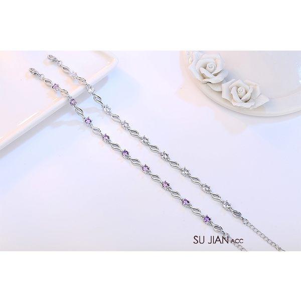 素簡手作《BS046》正白k~簡約鋯石925銀手鍊 開運手鍊 水晶手鍊