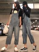 吊帶褲高腰九分牛仔褲寬鬆褲子女學生
