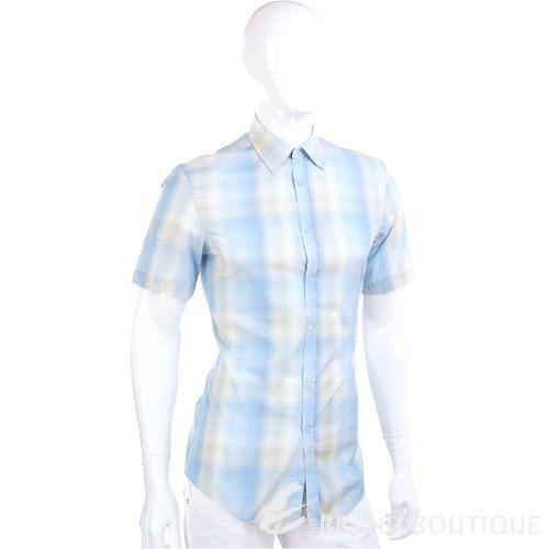 KENZO 米黃渲染短袖襯衫(水藍色) 0620967-27