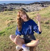 夏季女裝2018韓版復古寬鬆大碼前后字母印花深藍BF短袖T恤女潮