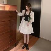 甜美系列 超仙森系白色連衣裙女2021夏季新款法式甜美蝴蝶結寬松a字蛋糕裙