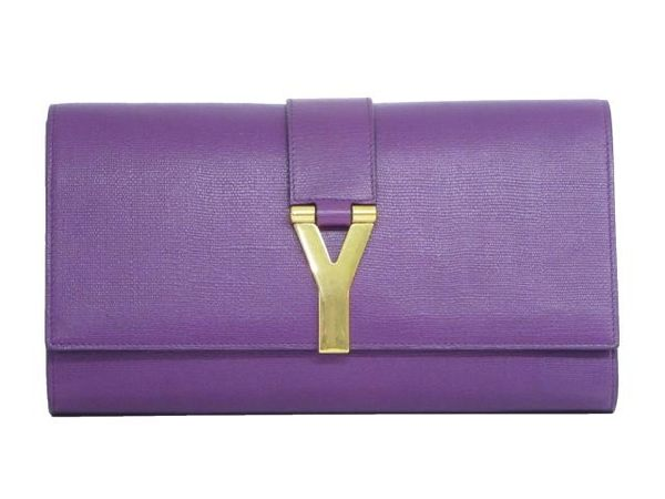 YVES SAINT LAURENT YSL 紫色牛皮Y字金屬LOGO前釦式手拿包 Chyc Clutch 【BRAND OFF】