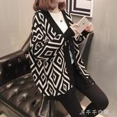 新款潮外搭加厚毛衣外套女開衫慵懶風寬鬆女士針織衫秋冬上衣 千千女鞋