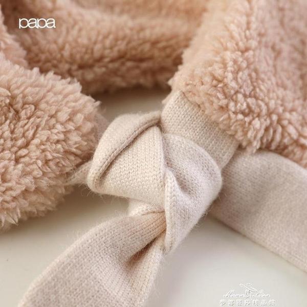 papa爬爬秋冬男女寶寶仿羊羔絨圍脖嬰兒保暖繫帶圍巾 新年禮物