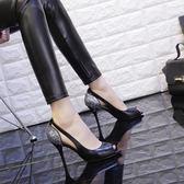 除舊佈新 魚嘴單鞋女2018春夏新款百搭性感側空槍色高跟鞋女細跟淺口單鞋女