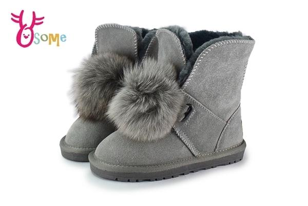 男女童冬季雪靴 刷毛 真皮 中小童鞋 牛皮 大毛球 暖冬韓流必備 M8081 #灰◆OSOME奧森鞋業