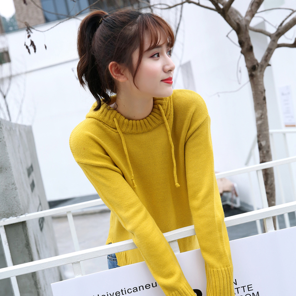 清倉388 韓國風少女寬松純色學生連帽抽繩毛衣長袖上衣