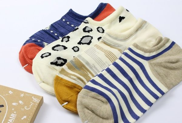 [協貿國際]春夏男士淺口隱形個性棉襪4雙裝