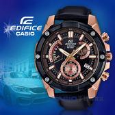 CASIO卡西歐 手錶專賣店 國隆 EDIFICE EFR-559BGL-1A 男錶 三眼計時碼錶 皮革錶帶 黑x玫瑰金 防水100米
