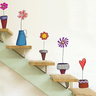►壁貼 創意壁貼 炫彩盆栽 透明膜牆貼紙家裝貼【A3055】