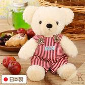 Hamee 日本製 手工 紅色條紋 吊帶褲 絨毛娃娃 玩偶禮物 泰迪熊 (奶油色/M) 640-198303