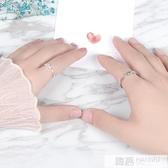 同心結情侶對戒月光石純銀戒指男女一對簡約日韓學生清新  99購物節