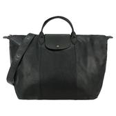 【南紡購物中心】LONGCHAMP Le Pliage Cuir 系列小羊皮寬背帶短把折疊旅行包(黑)