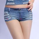 衣美姬♥性感火辣側邊破洞牛仔短褲 時尚超短韓版小熱褲 舞者鋼管表演必備短褲