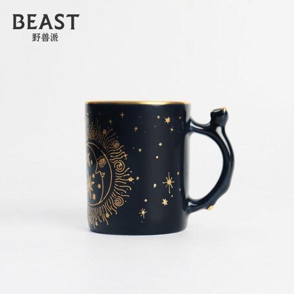 THE BEAST/野獸派 星辰馬克杯 ins風手工描金陶瓷杯子帶茶漏水杯   蘑菇街小屋