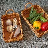 日式原木片雙提手工編織收納籃水果面包菜籃子野餐置物筐