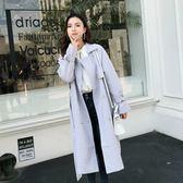 正韓 外套大衣日系韓版格子風衣法式上班風衣外套1658