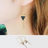 耳環 幾何 三角形 吊墜 線條 金屬感 氣質 耳環【DD1706138】 ENTER  09/28