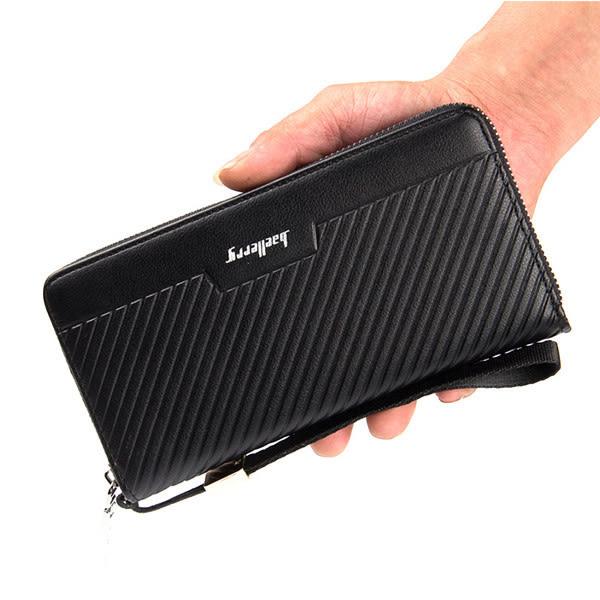 男包包 現貨 長夾 新款大容量編織線條立體長皮夾 手機錢包 4款 -寶來小舖【6055】