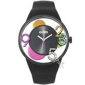 【台南 時代鐘錶 ODM】天空系列 漂浮感新銳創意設計特色腕錶 DD155-04 矽膠帶 黑/彩鑽 44mm
