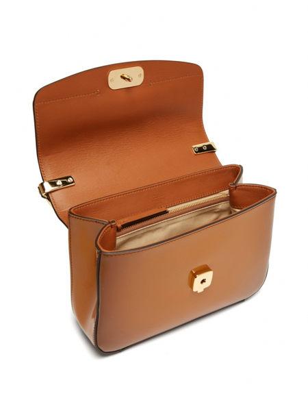 ■專櫃57折 ■Chloe C 小款 Spazzolato光澤滑面小牛皮雙肩帶翻蓋包 漸層漆皮棕色